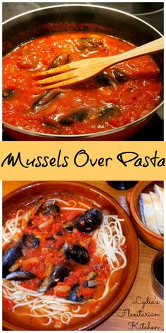 Mussels over Pasta ~ Lydia's Flexitarian Kitchen #seafood #pasta #flexitarian #Lent