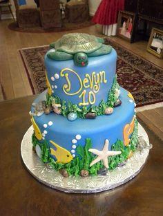 2 teir sea turtle birthday cake - Village Bakery - Tyler TX