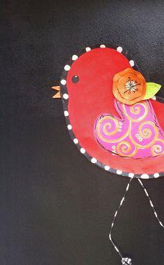 Bright Red Bird with Flower Door Hanger Wreath, Spring Door Hanger, Sunner Door Hanger