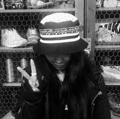 Young Christina Paik in one of the new Staple reversible buckets