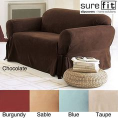 @Overstock.com - Sure Fit Smooth Suede Washable Sofa Slipcover - Create a whole new look in your family or living room with this suede sofa slipcover. The slipcover allows you to have a sofa that looks completely brand new. The cover stretches to fit snugly over the sofa to create an undetectable new look.  http://www.overstock.com/Home-Garden/Sure-Fit-Smooth-Suede-Washable-Sofa-Slipcover/2278569/product.html?CID=214117 $59.99