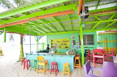 Placencia, Belize  Beach Bars. Barefoot Bar  #pagesinmypassport