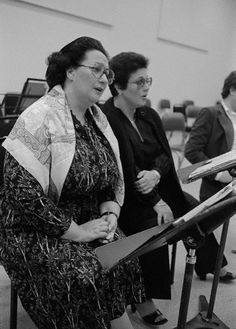 Montserrat Caballe and Marilyn Horne in rehearsal...