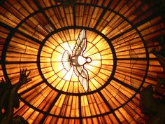light thru stained glass window
