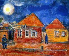 1940 Marc Chagall. Rue dans le Village Huile sur papier, marouflé sur toile 51,9x64,2 cm Collection Particulière. #Art #Francia #Fauvismo #Divertido @deFharo