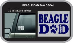 Personalized DOG PAW Decal - BEAGLE Dad for car window, laptop computer, cell phone by Oneofakindalways on Etsy