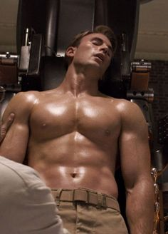 Chris Evans Shirtless And Buff For 'Captain America'