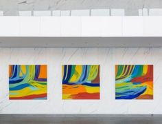 Installation view of paintings by Greg Goldberg at One World Trade Center.