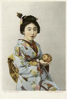 """Japan's fairest"" holding a 'temari' thread-ball.  Hand-colored photo. Early 20th century, Japan The Kimono Gallery"