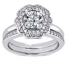 Floral Halo Diamond Engagement Ring & Matching Wedding Band