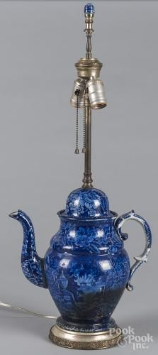 Historical blue Staffordshire coffee pot table lamp depicting Franklin's tomb, 11 1/4'' h.