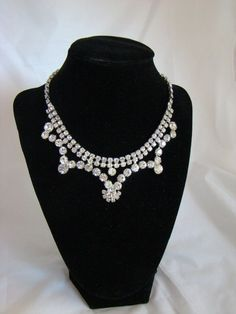 Vintage Clear Pronged Rhinestone Necklace  Bride by SecondWindShop, $45.00