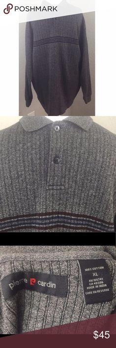 Pierre Cardin Striped Long Sleeved Polo Sweater Pierre Cardin Striped Long Sleeved Polo Sweater Vintage Garment is 100% cotton Pierre Cardin Sweaters Crewneck