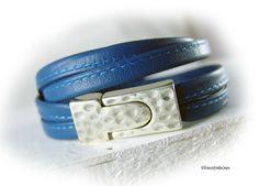 Womens wrap leather bracelet men blue silver  by elfenstuebchen
