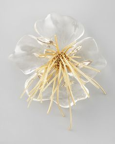 ALEXIS BITTAR BROOCHES | Alexis Bittar Ophelia Fringed Pansy Brooch Clear in Transparent (CLEAR ...