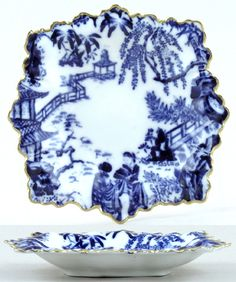 Derby flow blue square salad plate (garden coffee blue and white)