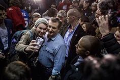 Ted Cruz greets supporters at his rally in Des Moines B4 beating the odds against Trumpster