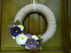 Summer Wreath - Spring Wreath -  Lilac Yarn Wrapped Wreath with Yellow, Violet, Orchid and White Flowers and Olive Leaves - 14 inch on Etsy, $30.00