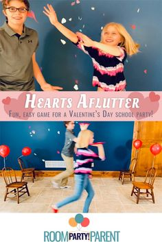 A fun game for a Load up the discs with light-as-air hearts and butterflies and watch them flutter around as the children race across the classroom. Can be played individually or as teams. Valentines Games, Valentines Day Party, Valentines For Kids, Valentine Heart, Kids Party Games, Fun Games, Party In A Box, School Parties, Party Planning