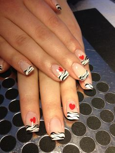 """Wild at Heart"" Gel French w/ Nail Art  I love how the Zebra crosses into the natural."