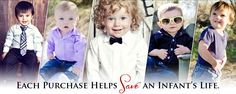 We specialize in fashion for little boys including baby boy dress clothes, zipper ties, v neck onesies, dress shirt onesies, and other clothing and accessories. Not only do we offer fun, customizable fashion for baby boys, but each purchase helps save an infant's life! 100% of the net profits from each sale is donated to help babies in need around the world.