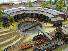 Beautiful job building this turntable and roundhouse area