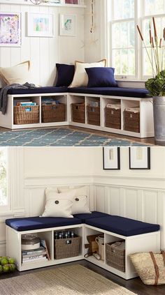 Most current Photographs Everyone knows & shelves from IKEA! Here are 14 great DIY ideas with Kallax shelves! Suggestions The IKEA Kallax line Storage furniture is a vital part of any home. They supply buy and help you h Living Room Corner Decor, Living Room Toy Storage, Spare Room Storage Ideas, Small Corner Decor, Ikea Room Ideas, Living Room Hacks, Living Room Bench, Creative Toy Storage, Clever Storage Ideas