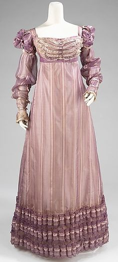 Empire Regency gown, rose and lilac,1820