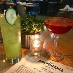 """Saturday Sippin' ➖➖➖➖➖➖➖➖➖➖➖➖➖➖➖ Currently drinking at: The Independence ➖➖➖➖➖➖➖➖➖➖➖➖➖➖➖ HIS: """"Crescent"""" Rum, pomegranate juice, lime, cayenne pepper and sugar rim. HERS: """"Coldwater"""" Vodka, cucumber, Lemon, Soda water."""