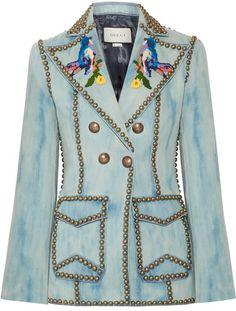 Gucci - Studded Embroidered Denim Blazer - Mid denim