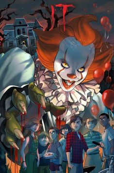 Pennywise with loser's club Clown Horror, Arte Horror, Horror Art, Film 2017, Scary Movies, Horror Movies, Anime Naruto, Maquillage Halloween Clown, It The Clown Movie