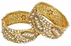 Indian Most Beautiful Gold Plated Adjustable Kadas Bangles For Women Bangles, Bracelets, Ladies Party, Tribal Jewelry, Party Wear, Most Beautiful, Ethnic, Indian, Traditional
