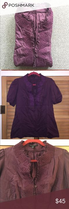 Intricately Embroidered Blouse Brand is Banana Republic. Posted as Anthro for views. Size medium but could fit M-L. Linen & cotton material. Worn twice if that. Only wrinkled from storage, but zero signs of wear. Looks perfect with khakis slacks for a warmer weather work look or over straight leg medium wash jeans for literally any occasion. I love the delicate embroidery on this. Has one button that can be undone on front too! Open to offers, bundle friendly & happy to negotiate on all…