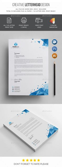 Letterhead Template - Stationery Print Templates Download here: https://graphicriver.net/item/letterhead-template/20126410?https://graphicriver.net/item/letterhead-template/20126573?ref=classicdesignp
