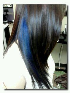 Peek a boo blue hair color