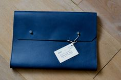 Noise goods indigo folio A4 clutch long john blog blue portugal natural tanned leather handmade europe denim jeans new paper bag big wallet ...