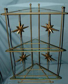 Vintage-Atomic-Mid-Century-Brass-Gold-Metal-Glass-Hanging-Corner-Shelf-20-3-8-T