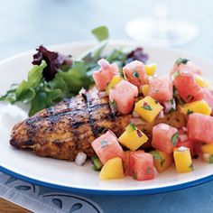 Marinated Grilled Chicken Breast with Watermelon-Jalapeno Salsa serves 6 for a luscious Phase 1 lunch. Sskip the oil and sugar (or sub a little stevia).