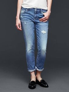Mid rise destructed best girlfriends jeans | Gap