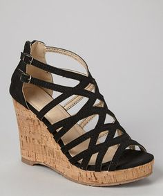Love this TOP MODA Black Double-Buckle Blow Wedge Sandal by TOP MODA on #zulily! #zulilyfinds