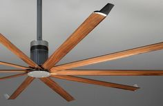 I really want this Isis with Real Walnut Wood ceiling fan from Big Ass Fans. :) These fans are customized, so no prices are given. If I have to ask, I guess I can't afford it. Best Outdoor Ceiling Fans, Large Ceiling Fans, Home Ceiling, Modern Ceiling, Interior Exterior, Home Interior Design, Industrial Fan, Barn Renovation, Colored Ceiling