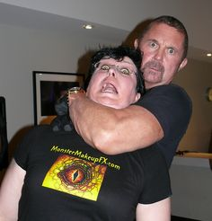 """Monster"" Midian gets caught up in a classic Jason Voorhees chokehold by Kane Hodder (Friday the 13th 7, 8, 9, 10; Hatchet films) on Saturday night at the Mile High Horror Film Festival    http://MonsterMakeupFX.com  http://www.milehighhorrorfestival.com/"
