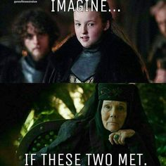 Lyanna Mormont and Olenna Tyrell, Game of Thrones, television, drama Game Of Thrones Meme, Mormont Game Of Thrones, Game Of Throne Lustig, Lyanna Mormont, Lady Mormont, Got Memes, Nerd Memes, My Champion, My Sun And Stars