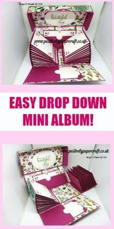 Make this gorgeous Exploding Mini Album! Mini Albums Scrap, Mini Scrapbook Albums, Scrapbook Layouts, Diy Scrapbook, Handmade Gift Tags, Handmade Books, Box Cards Tutorial, Diy Mini Album Tutorial, Card Tutorials