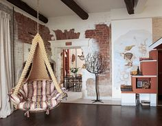 Brick Interior, Brick Wall, Hanging Chair, Chandelier, Ceiling Lights, Bed, Furniture, Dream Homes, Home Decor