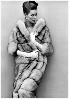 Tania Mallet wears Saga blue fox full-length coat by Maxwell Croft, photo by John French, November 1964