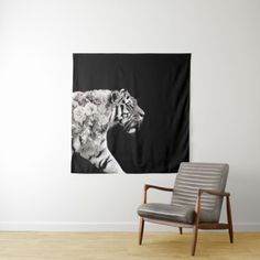 57x57 Art Double Exposure Tiger Roses Photo Tapestry - photos gifts image diy customize gift idea