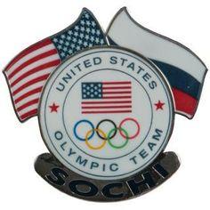 USA 2014 Winter Olympics Sochi Dual Flags Pin #13908H | ShopUSAHockey.com