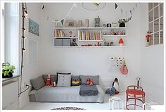 Love this - white, grey and pops of colour