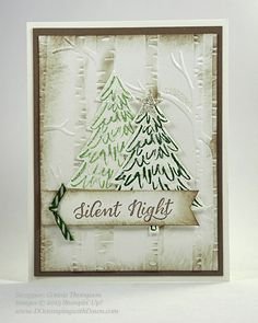 Peaceful Pines stamp set and Woodland embossing folder
